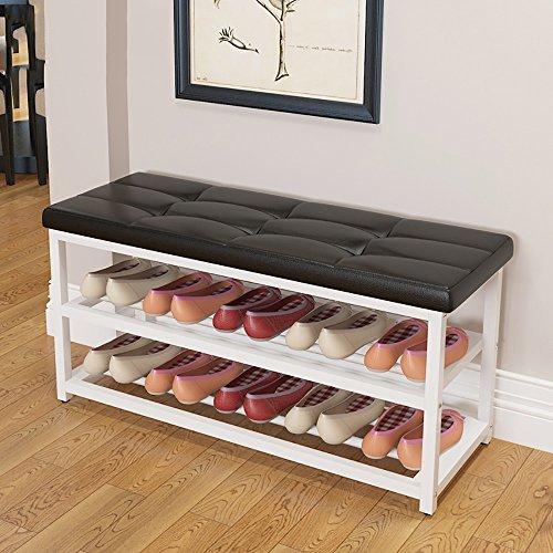 LJHA Tabouret pliable Repose-pieds créatif/tabouret de porte/Tabouret de rangement/tabouret de canapé de salon (3 couleurs disponibles) chaise patchwork (Couleur : Noir, taille : 90cm)