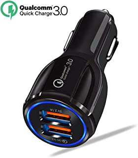 Quick Charge QC 3.0 Car Charger, LECMARK Charging Car Cigarette Lighter Chargers Adapter with 2 USB Ports Vehicle Charger for Android iOS Smartphones