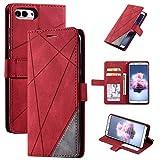 Hülle für Huawei Enjoy 7S Hülle Leder ,Hülle für Huawei P Smart FIG-L03 FIG-LX2 FIG-L21/L22 FIG-LX1/LX3 FIG-LA1 / Honor 9 Lite LLD-L22A LLD-L31 / Nova Lite 2 Hülle Klapphülle Handytasche Hülle Red