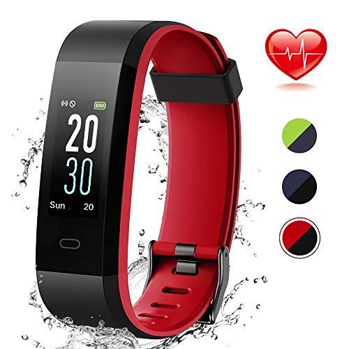 Lintelek Fitness Tracker mit Pulsmesser IP68 Wasserdicht 0,96 Zoll Farbbildschirm Fitness Armbanduhr Aktivitätstracker Pulsuhren Schrittzähler Uhr Smart Watch Fitness Uhr MEHRWEG