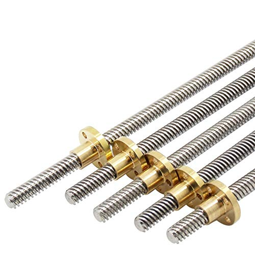 WEJUANR 3D-Drucker Trapez- Rod T8 Blei 8mm Schraubengewindesteigung 1/2/4/8/12/14 Mm Länge 100/150/200/250/300/350/400/450/500/550/600/650/700/750 /800 / 850mm Mit Messingmutter