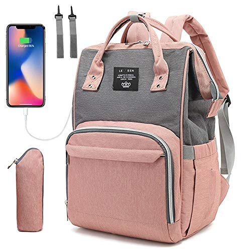 Baby Diaper Bag Backpack, Multi-Function Waterproof Maternity Nappy Bags with USB Port for Mom & Dad, Large Capacity (Pink-Grey)