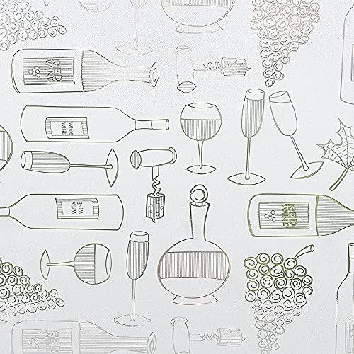 Pellicola di vetro per conservazione statica, pellicola per finestre impermeabile con protezione della privacy del modello di bottiglia di vino, utilizzata in ufficio a casa Z 40x200 cm