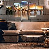 5 Piece Canvas Cartel De La Lona Decoración Del Hogar Arte De La Pared Foto Puente Retro Europa Sin Marco