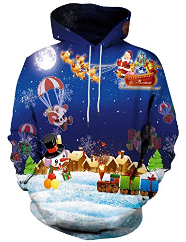 Unisex 3D Novelty Hoodies for Men Women Cool Graphic Pullover Sweatshirts with Pockets-Dxd-blue24-XX-Large