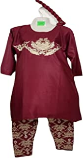 Stitch Full Embroidery Straight Pant With A-Line Shirt Traditional Pakistani Ready to Wear Dress for women/Girls, Red\Beige