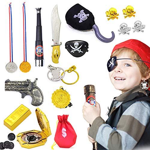 Piraten Zubehör Set,Kostüm Set für Karneval,Piratenset bestehend,Piraten Zubehöre,Piratenkostüm Kinder,Goldener Ohrring,Fernrohr,Augenklappe Pirat,Kostüm Set für Karneval,Halloween Deko (rot)