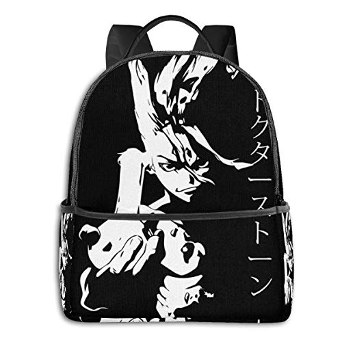 IUBBKI Mochila lateral negra Mochilas informales Anime & Dr Stone Classic Student School Bag School Cycling Leisure Travel Camping Outdoor Backpack
