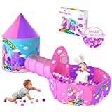 Gift for Girls Playhouse with Drawing Book, Unicorn Princess Castle Play Tent for Kids Girls & Pop Up Play Tunnel & Ball Pit & Basketball Hoop, Toys for Girls Outdoor Indoor Play