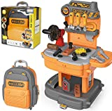Toy Tool Bench, Backpack 2 in 1 Toddler Workbench Including Rotatable Simulated Chainsaw, Detachable Toddler Tool Box and Easy to Store, Toy Tool Sets for Boys