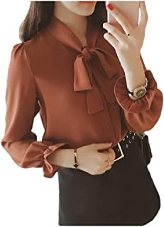 Howely Womens Long Sleeve Autumn Chiffon Tie Wear to Work Blouse Top