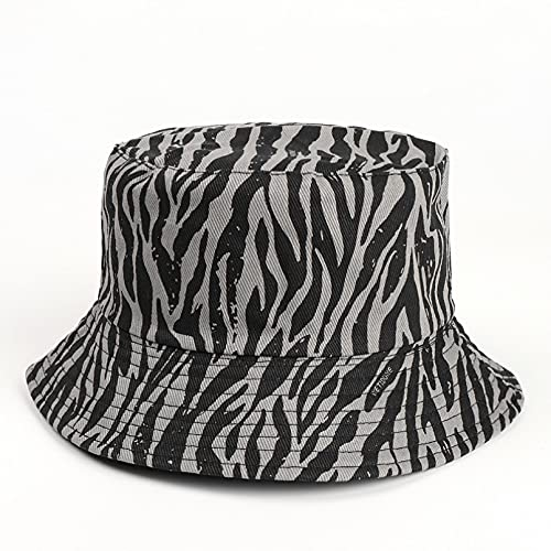 PKYGXZ Sombrero Retro de Pescador con patrón de Cebra, Gorra con Visera de Deporte al Aire Libre con Estampado de Leopardo a Doble Cara para Mujer, Sombrero Plano de Hip Hop