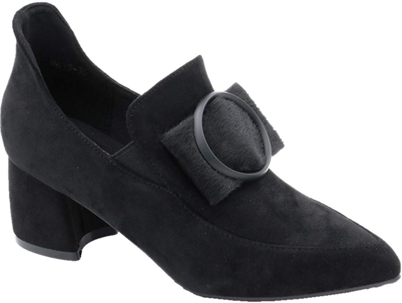 HBDLH Damenschuhe Herbst - Fee Schnalle Absatz 5 cm Hoch Legere Schuhe Mit Dicken Ferse Ferse Sagte Mitte Tiefe Mund Einzelne Schuhe