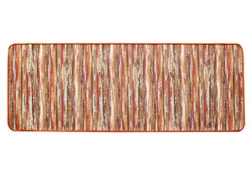 Tappeto Antiscivolo Cucina, Passatoia Cucina 55x140 cm, Lavabile in Lavatrice, Motivo Multicolore Tonalità Arancione
