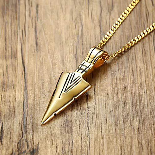 QiuYueShangMao Gold Tone Pewter Spearhead Surf Wear Necklaces for Men Stainless Steel Spear Pendant Necklace Couple pendant