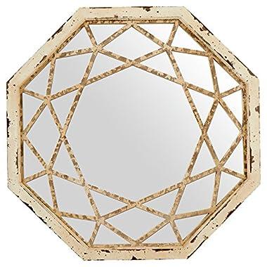 Stone & Beam Vintage-Look Octagonal Mirror, 25.5  H, Antique White