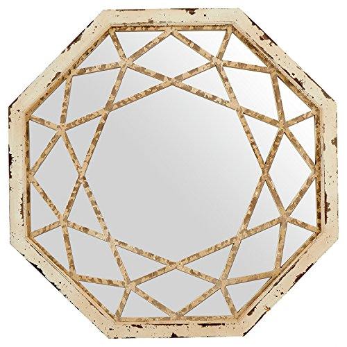 Stone & Beam Vintage-Look Octagonal Hanging Wall Mirror Decor, 25.5 Inch Height,...