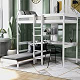 Twin Loft Bed with L-Shape Desk, Solid Wood Bed with Storage Shelves, Ladders...