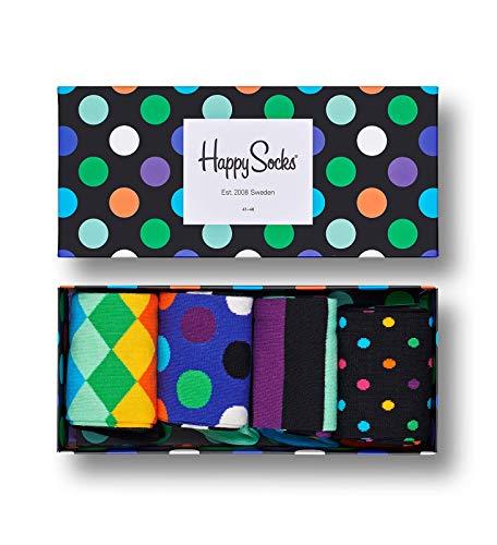 Happy Socks – Gemischt farbenfrohe Geschenkbox an Baumwollsocken für Männer und Frauen, Big Dot Gift Box 6500, 36-40