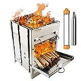 PSKOOK Fornello da Campeggio Portatile Pieghevole Leggero in Acciaio Inox, Stufa a Legna per Picnic, Barbecue, fornello con Tasca