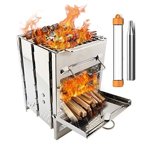 PSKOOK Holzofen Backpacking Campingkocher Falten Holzofen Mini BBQ Grill mit Pocket Bellow