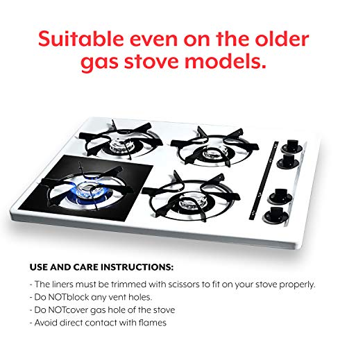 Stove Burner Covers with Oven Liner - Round, Non-Stick, Easy Clean, Heat Resistant to 500 Degrees. BPA Free, Reusable. Large Size 16.25x23 Inch Liner, Double Thickness, Black, 8+1-Pack