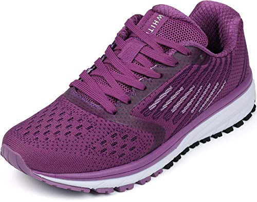 WHITIN Turnschuhe Damen Laufschuhe Joggingschuhe Frauen Fitnessstudio rutschfest Straßenlaufschuhe Joggingschuhe Sportschuhe Sneakers Fitness Schuhe Violett Größe 40