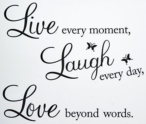 Vinyl Decal Live Every Moment Laugh Every Day Love Beyond Words Wall Quote