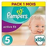 Pampers Couches Premium Protection Active Fit Taille 5 (11-25kg) notre N°1 pour la protection des peaux sensibles, Faciles à Changer, 136 Couches