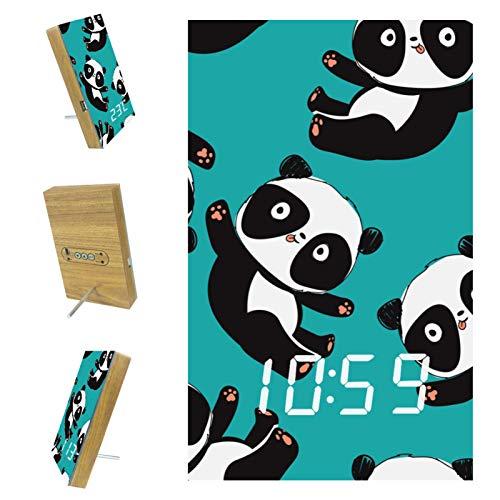 Reloj Despertador Digital para dormitorios, Cocina, Oficina, 3 configuraciones de Alarma, Radio, Relojes de Escritorio de Madera, patrón de Oso Panda, ilustración Vectorial