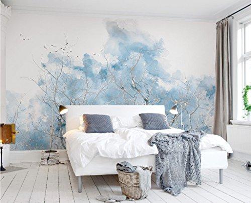 Fototapete 3D Effekt Vlies Tapete hellblaue Zweige Aquarelle Vögel nordische Ikea einfache TV Hintergrund Wand. Tapeten Wandbilder Wohnzimmer