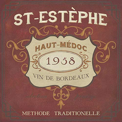 Feeling at home ESTRILLADO-LIENZO-Vintage-Vino-etiquetas-IV-buque-Junio-Erica-Cocina-Fine-Art-impresión-enmarcado-on-madera-bars-cm_21x21_in