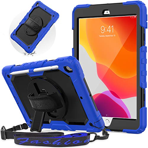 New iPad 8th/ 7th Generation Case, SEYMAC iPad 10.2 Case with Screen Protector Pencil Holder, Rugged Full Body Protective Case Kids with Sturdy Stand, Shoulder Strap, Hand Strap for iPad 7/8 Gen,Blue