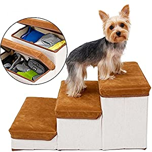 Rolife Foldable Dog Stairs for Small Dogs 3 – Tier Dog Steps for Bed Couch Hold up to 15 lbs Small Medium Dogs (Brown)