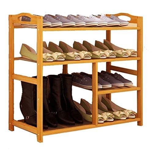 Zapatero grande de madera para botas, puerta de entrada, pasillo, dormitorio, soporte de bambú de pie (tamaño : 4 niveles)