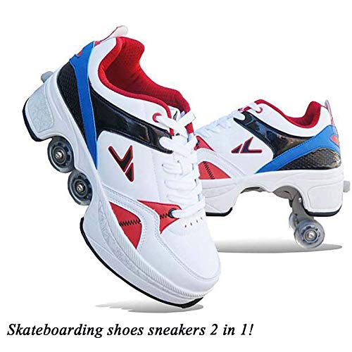 Hardloopschoenen sportschoenen kinderen skateboard schoenen kinderschoenen met wieltjes multifunctionele deformatie schoenen quad skate rollen schoenen voor jongens meisjes