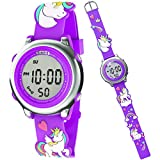 Unicorn Watch for Kids – Girl's Digital Watch – Purple Watch for Girls – Multifunctional Kid's Watch - Waterproof Watch with Lights – 3D Silicone Strap – Party Favors (Purple)