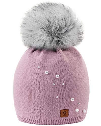 MFAZ Morefaz Ltd Mädchen Winter Mütze Beanie Kinder Groß Pom Pom Style Kids SKI Snowboard (A Rose Pink Pearl 4)