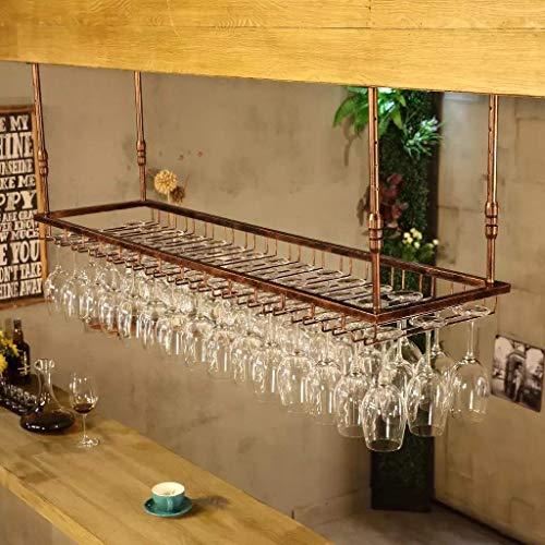 GJBJ-Wine Racks Cubilete Portavasos Suspensión Copa de Vino Estante Estante Colgante de Hierro Titular de Rack Techo Decoración Bar (Color : Marrón, tamaño : 150 * 35cm)
