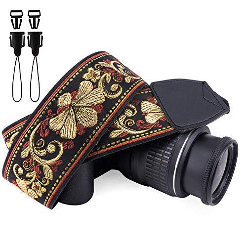 Wolven Vintage Jacquard Weave Camera Neck Shoulder Strap Belt Compatible with All DSLR/SLR/Digital Camera (DC)/Instant Camera/Polaroid etc, Golden Retro Floral