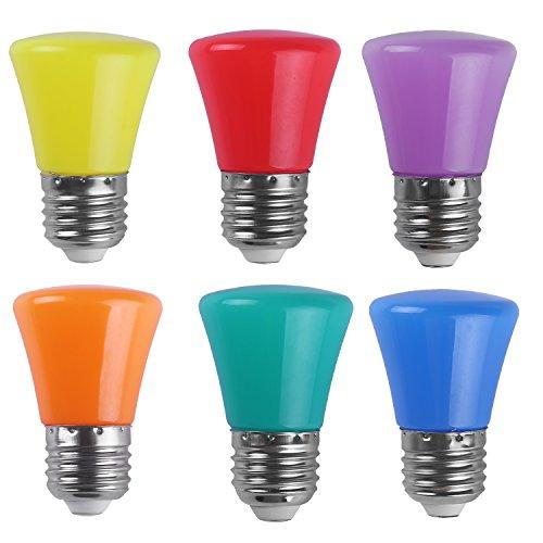 AWE-LIGHT 2W LED Colored Light Bulb E26 Medium Base Multi-Colored Light Bulb for Wedding Halloween Christmas Party Bar Mood Ambiance Decor