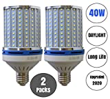 40W LED Corn Light Bulb Daylight 6000k Super Bright 400 Watt equiv. 2 Packs. Large Light Bulbs E26/E27 Daylight White Barn, Workshop,Warehouse,Garage,Factory,Porch,Backyard BestCircle