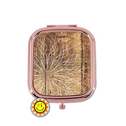 creosoleil Miroir de Poche Femme Cadeau Fantaisie Original Texture Bois Floral
