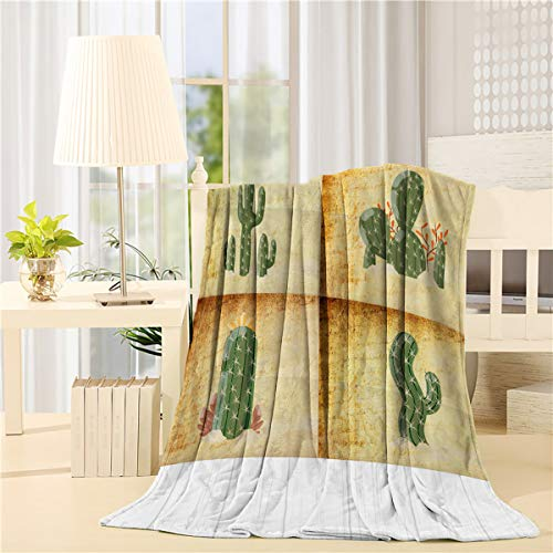 BABE MAPS Flannel Throws Blanket 40 x 50inch Super Soft Vintage Cactus Bed Blanket, Lightweight Cozy Throw Blankets Fit Couch Sofa Suitable for All Season Tropical Desert Succulents Plants