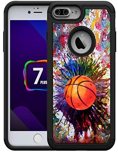 OptiCase Schutzhülle für iPhone 7 Plus, iPhone 8 Plus, Vintage-Basketball-Spritzer, bedruckter Designer-Hybrid-Hybrid-stoßfeste einzigartige robuste Schutzhülle (TPU mit PC) mit großartigem Schutz