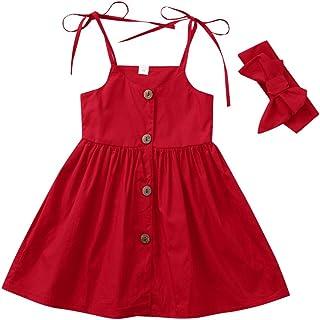 ab8d1afe98e3e LUBITY Filles D été Bouton Rouge Col Rond Robe sans Manches Sangle pour  Enfants Fête