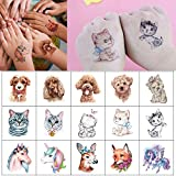 glaryyears 25 Sheets Cut Pet Temporary Tattoo Stickers for Kids, Cartoon Unicorn Realist Dogs Cats Fox for Girls Boys Children,Waterproof Fake Tattoos on Face Hand Arm Party Favor Body Art