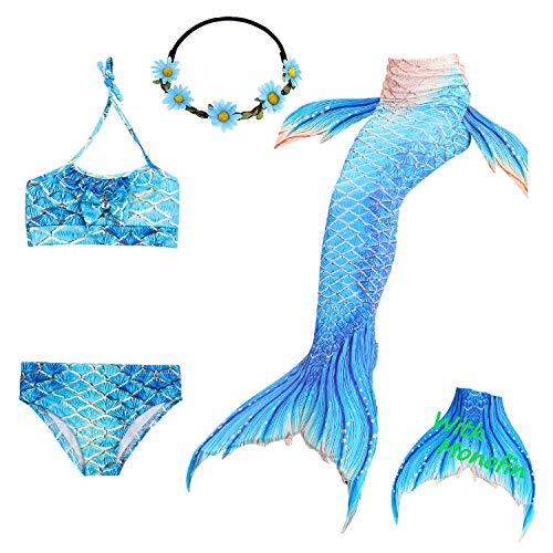 Das beste Mädchen Bikini Badeanzüge Schönere Meerjungfrauenschwanz Zum Schwimmen mit Meerjungfrau Flosse Schwimmen Kostüm Schwanzflosse - Ein Mädchentraum- Gr. 150, Farbe: A06