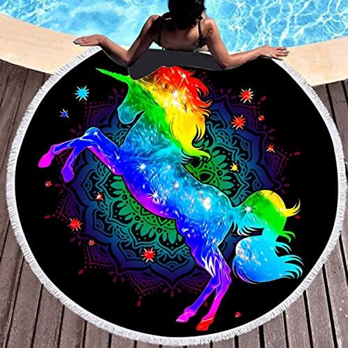 GermYan Toalla De Playa Redonda Grande con Estampado De Unicornio Bohemio Toallas De Baño De Tela Redonda De Microfibra para Sala De Estar Decorativa para El Hogar