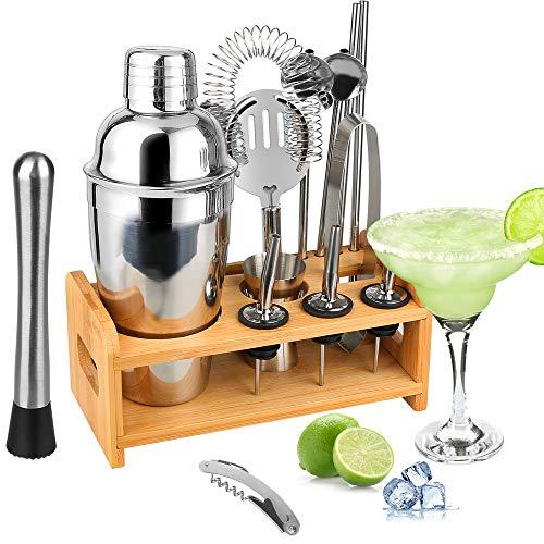 Tuevob Cocktailshaker 13 +1 Teiliges Cocktail Bar Set Edelstahl mit Ständer - 550 ML Bartending Kit Barkeeper Werkzeuge Boston Barware Barsieb-Set Perfektes Zuhause Küche Geschenk